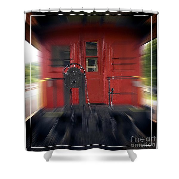 Red Caboose Shower Curtain by Edward Fielding
