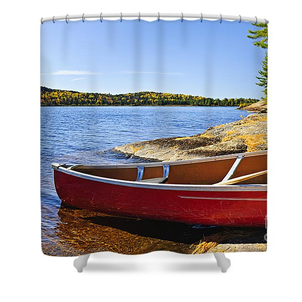 Red Canoe On Shore Shower Curtain by Elena Elisseeva