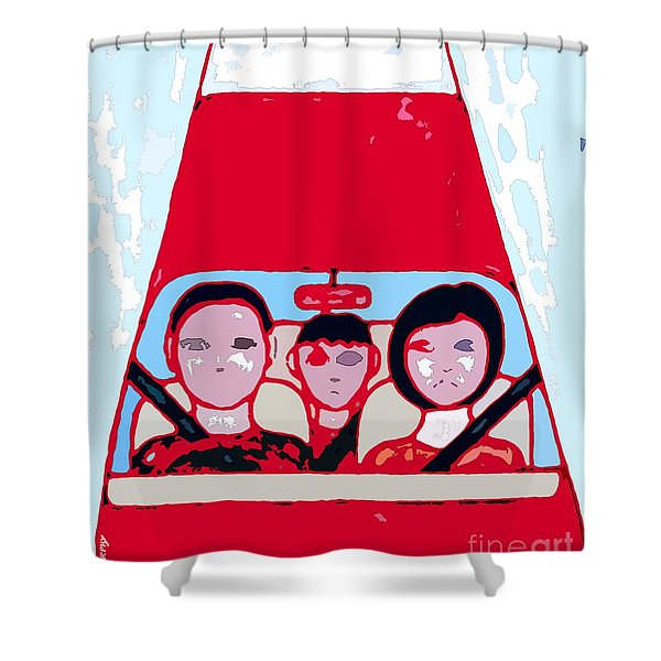 Red Car Shower Curtain by Patrick J Murphy