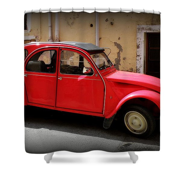 Red Deux Chevaux Shower Curtain by Lainie Wrightson