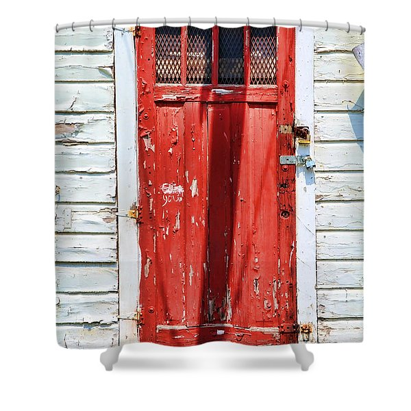 Red Door By Diana Sainz Shower Curtain by Diana Sainz