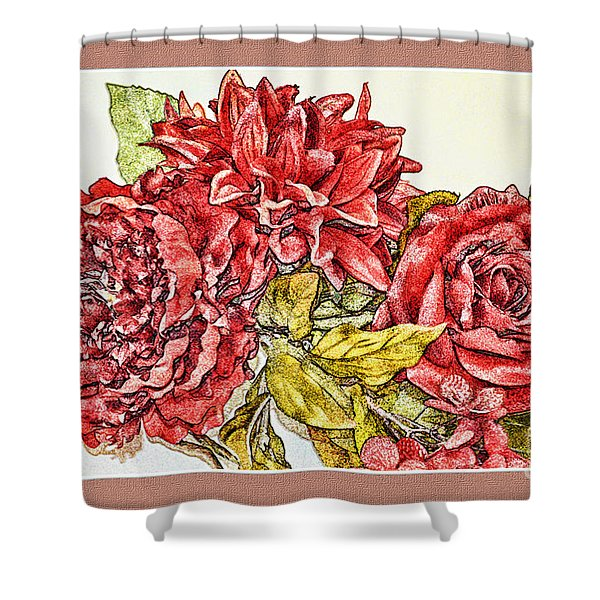 Red Floral Photoart Shower Curtain by Debbie Portwood