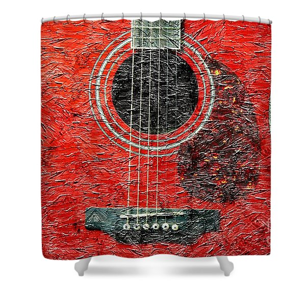 Red Guitar Center - Digital Painting - Music Shower Curtain by Barbara Griffin