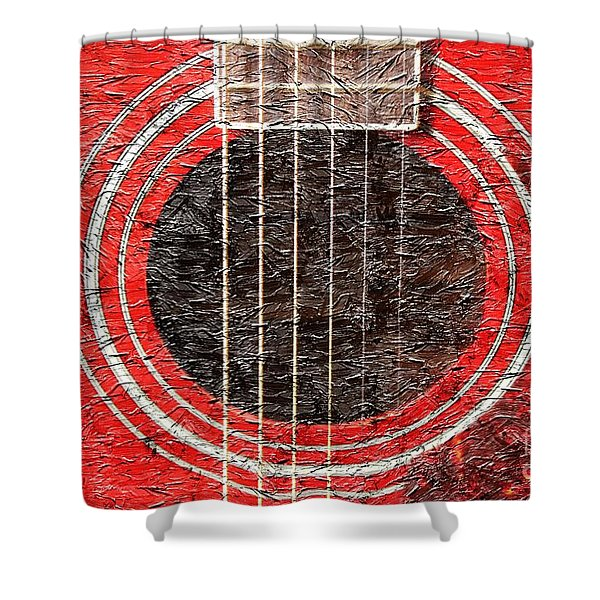 Red Guitar - Digital Painting - Music Shower Curtain by Barbara Griffin