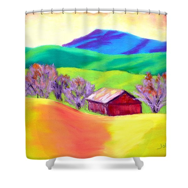 Red Hill Barn Shower Curtain by Nancy Jolley