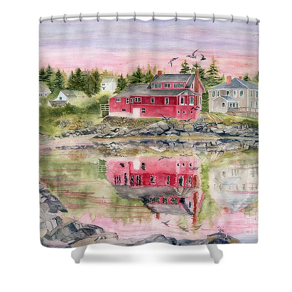 Red House Reflection Shower Curtain by Melly Terpening