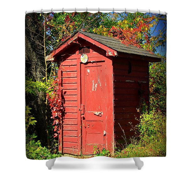Red Outhouse Shower Curtain by Paul Ward