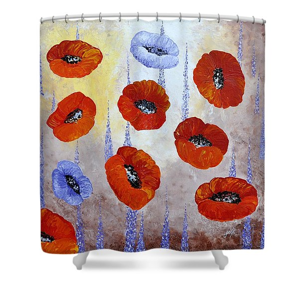 Red Poppies Shower Curtain by Georgeta  Blanaru