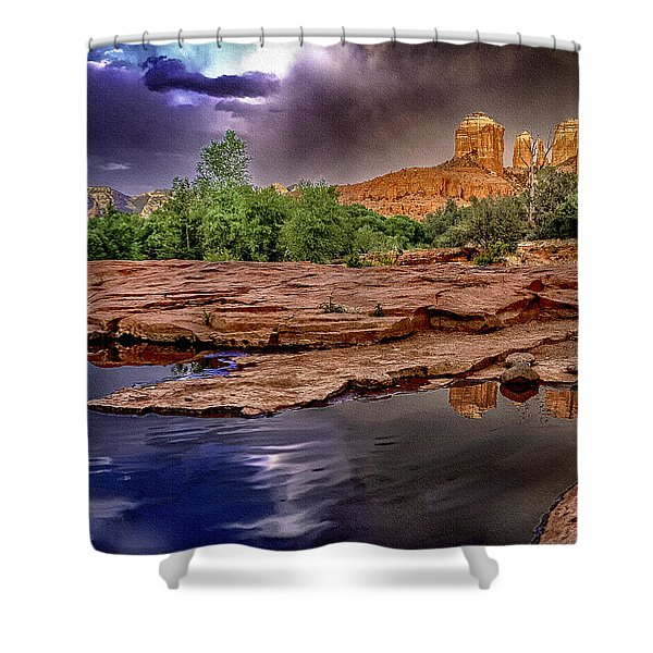 Red Rock Crossing Red Rock State Park Shower Curtain by  Bob and Nadine Johnston