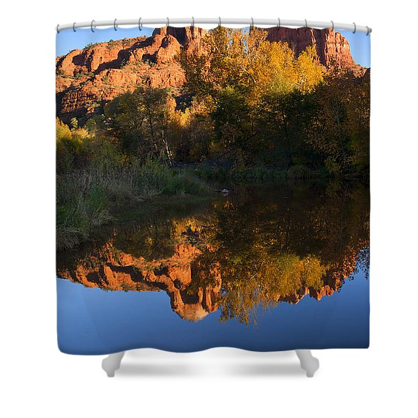 Red Rock Reflections Shower Curtain by Mike  Dawson