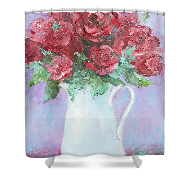 Red Roses in white jug Shower Curtain by Jan Matson