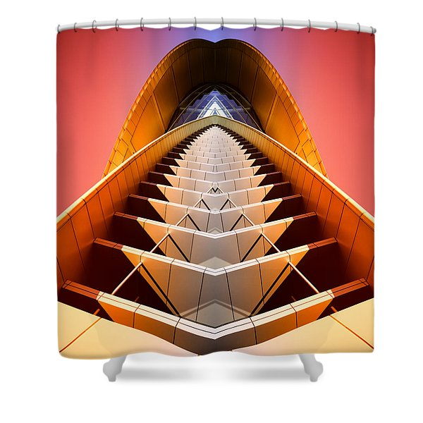 Red Shift Shower Curtain by Wayne Sherriff