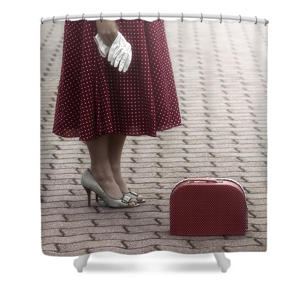 Red Suitcase Shower Curtain by Joana Kruse
