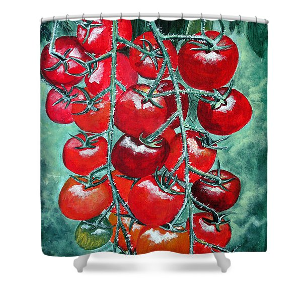 Red Tomatos Shower Curtain by Huy Lee