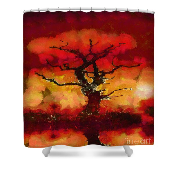 Red tree of life Shower Curtain by Pixel Chimp