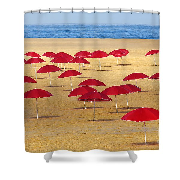 Red Umbrellas Shower Curtain by Carlos Caetano