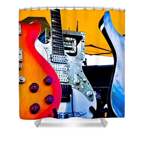 Red White and Blue Guitars Shower Curtain by David Patterson