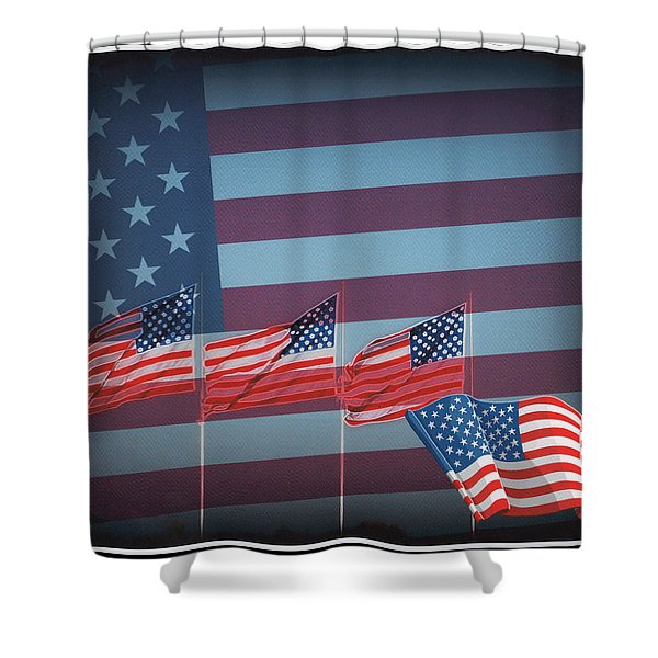Red White And Blue Shower Curtain by Kay Novy