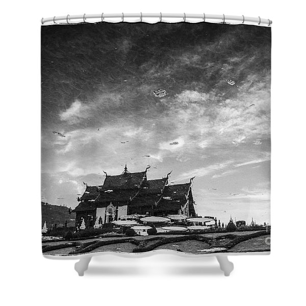 Reflection Of Royal Park Rajapruek Temple In The Water Shower Curtain by Setsiri Silapasuwanchai