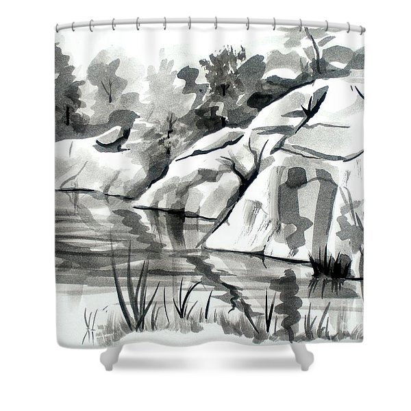 Reflections at Elephant Rocks State Park No I102 Shower Curtain by Kip DeVore