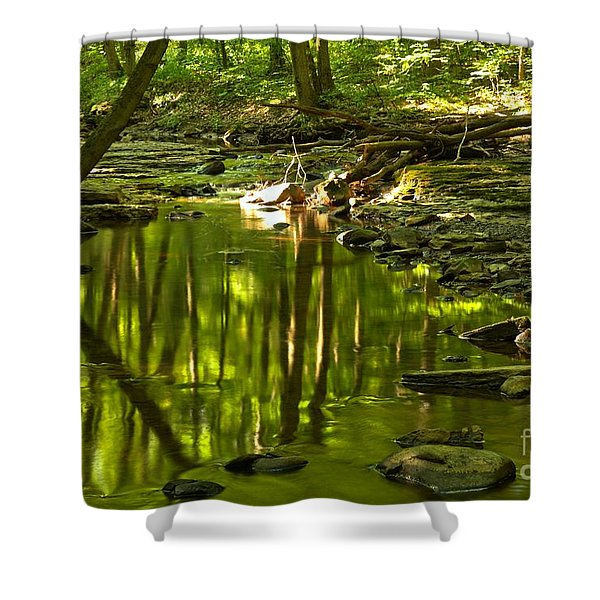 Reflections In Hells Hollow Creek Shower Curtain by Adam Jewell