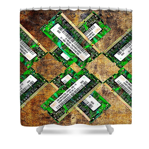 Refresh My Memory - Computer Memory Cards - Electronics - Abstract Shower Curtain by Andee Design
