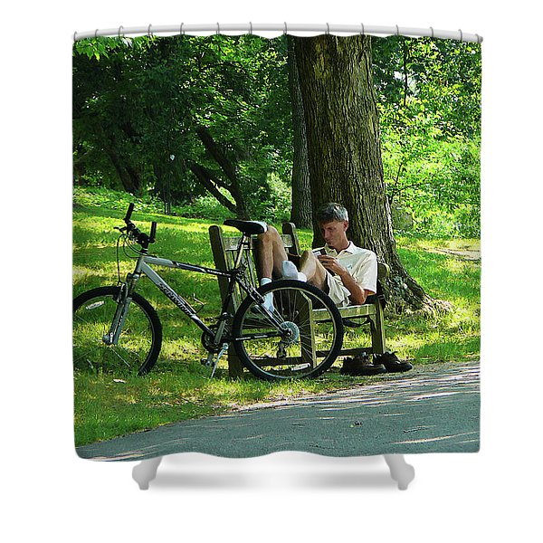 Relaxing After The Ride Shower Curtain by Susan Savad