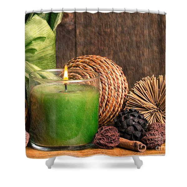 Relaxing Spa candle Shower Curtain by Edward Fielding