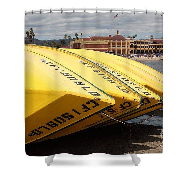 Rental Boats On The Municipal Wharf At Santa Cruz Beach Boardwalk California 5d23795 Shower Curtain by Wingsdomain Art and Photography