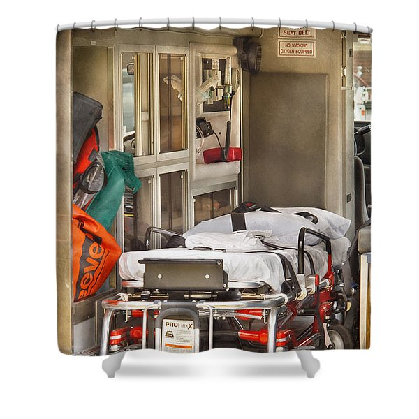 Rescue - Inside the Ambulance Shower Curtain by Mike Savad