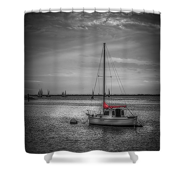 Rest Day b/w Shower Curtain by Marvin Spates