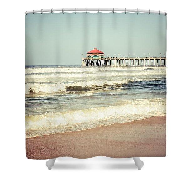 Retro Photo of Huntington Beach Pier  Shower Curtain by Paul Velgos