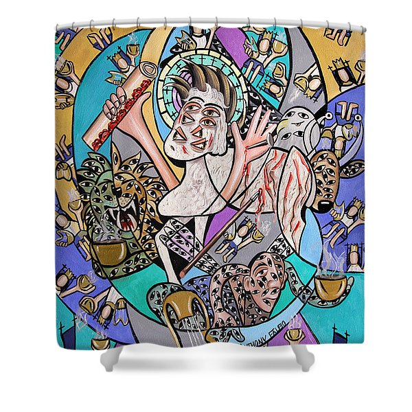 Revelation Chapter 5 6-14 Shower Curtain by Anthony Falbo