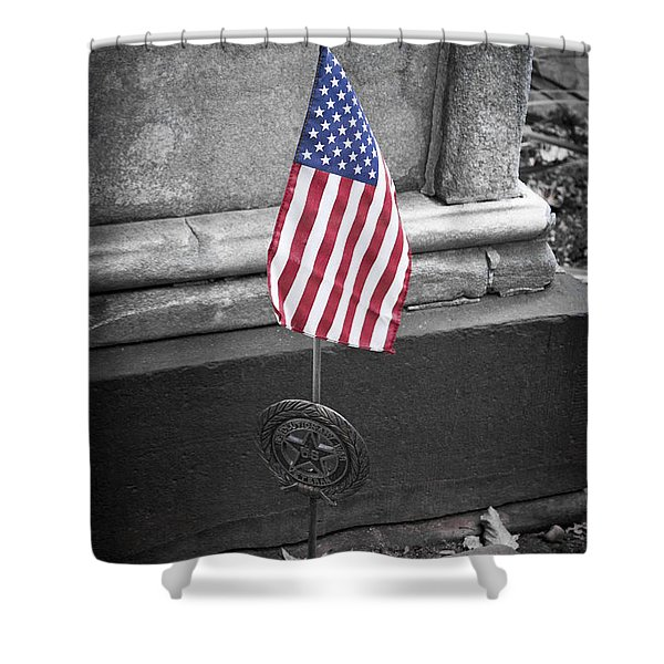 Revolutionary War Veteran Marker Shower Curtain by Teresa Mucha