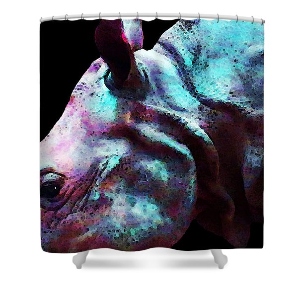 Rhino 1 - Rhinoceros Art Prints Shower Curtain by Sharon Cummings