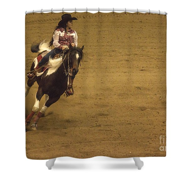 Riding Around The Barrel Shower Curtain by Janice Rae Pariza