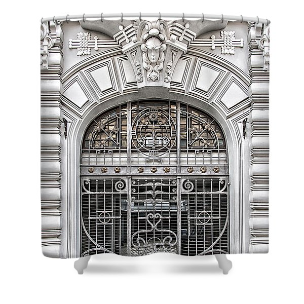 Riga Art Nouveau District 03 Shower Curtain by Antony McAulay