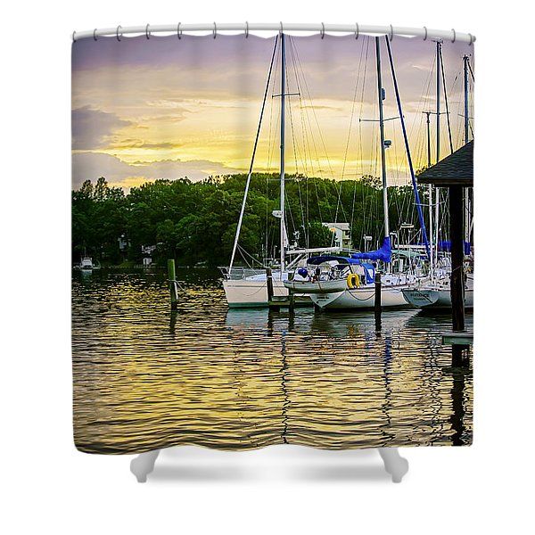 Ripples at Sunset Shower Curtain by Brian Wallace