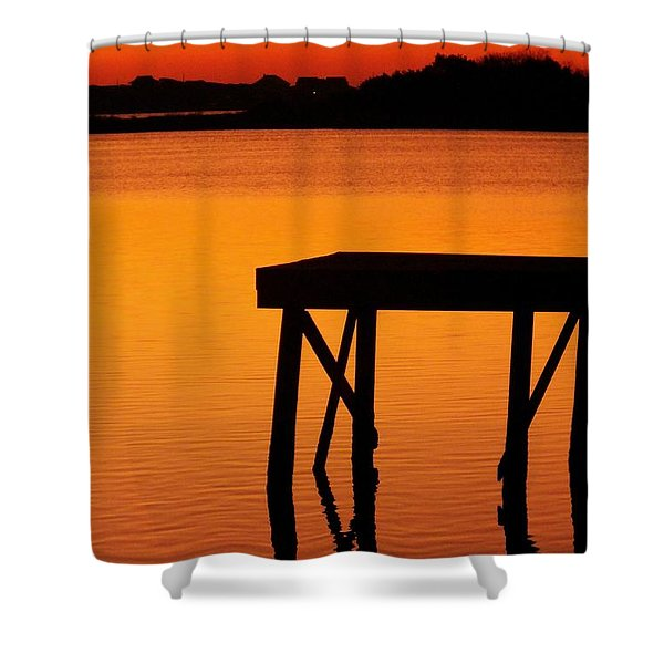 Ripples of Copper Shower Curtain by KAREN WILES