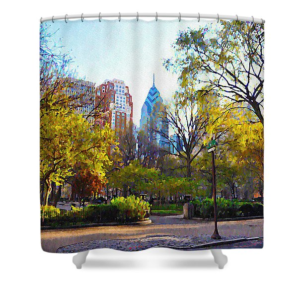Rittenhouse Square In The Spring Shower Curtain by Bill Cannon