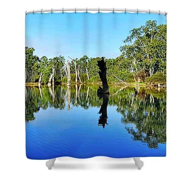 River Panorama and Reflections Shower Curtain by Kaye Menner