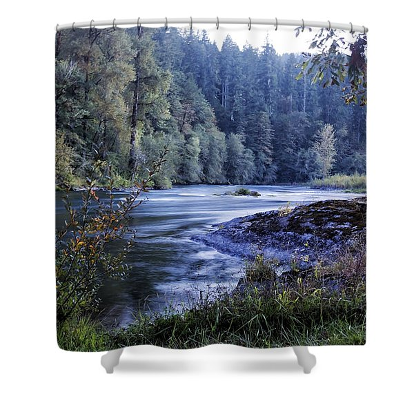 Riverflow At Dusk Shower Curtain by Belinda Greb