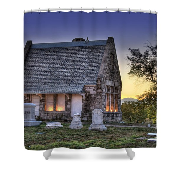 Riverside Cemetery Shower Curtain by Juli Scalzi