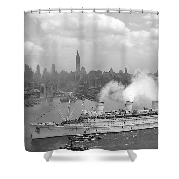 Rms Queen Mary Arriving In New York Harbor Shower Curtain by War Is Hell Store