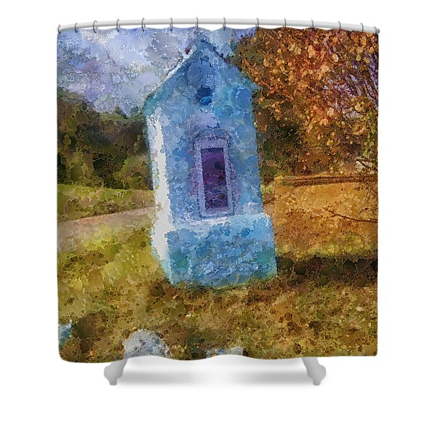 Roadside Shrine Shower Curtain by Mo T