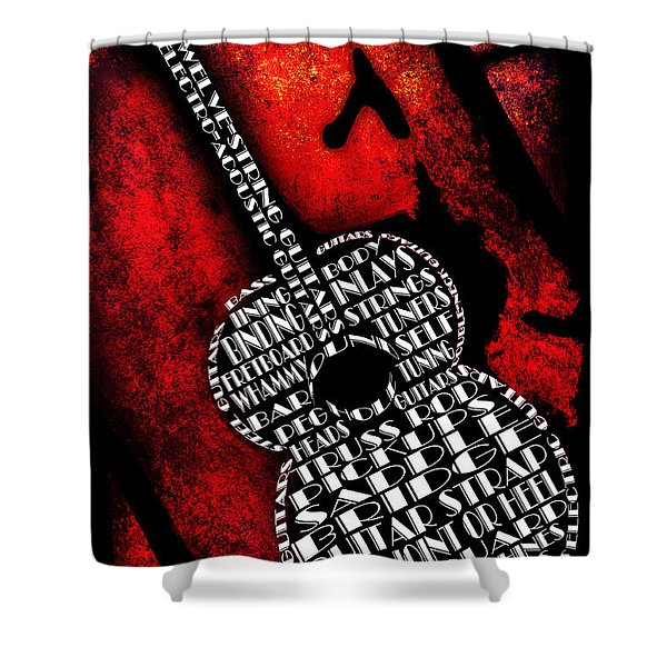 Rockin Guitar In Red Typography Shower Curtain by Andee Design