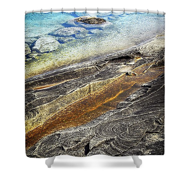 Rocks and clear water abstract Shower Curtain by Elena Elisseeva
