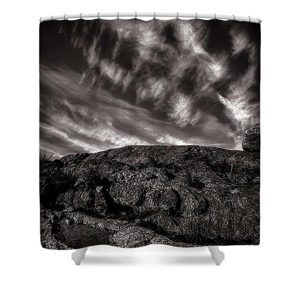 Rocks Clouds Water Shower Curtain by Bob Orsillo