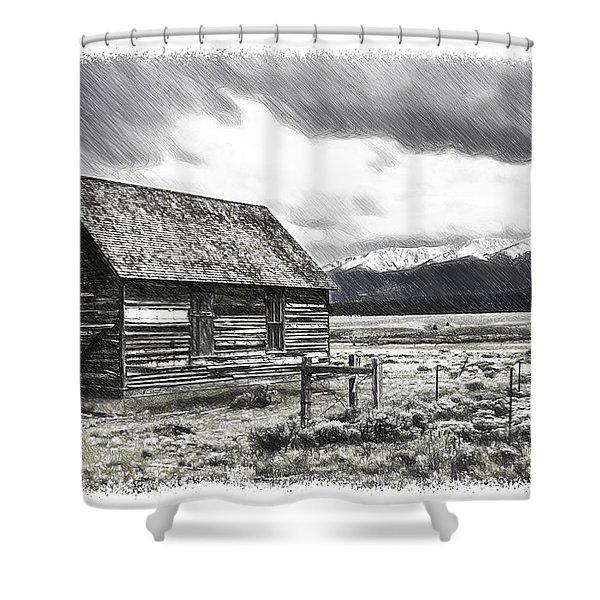 Rocky Mountain Past Shower Curtain by John Haldane