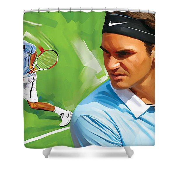 Roger Federer Artwork Shower Curtain by Sheraz A